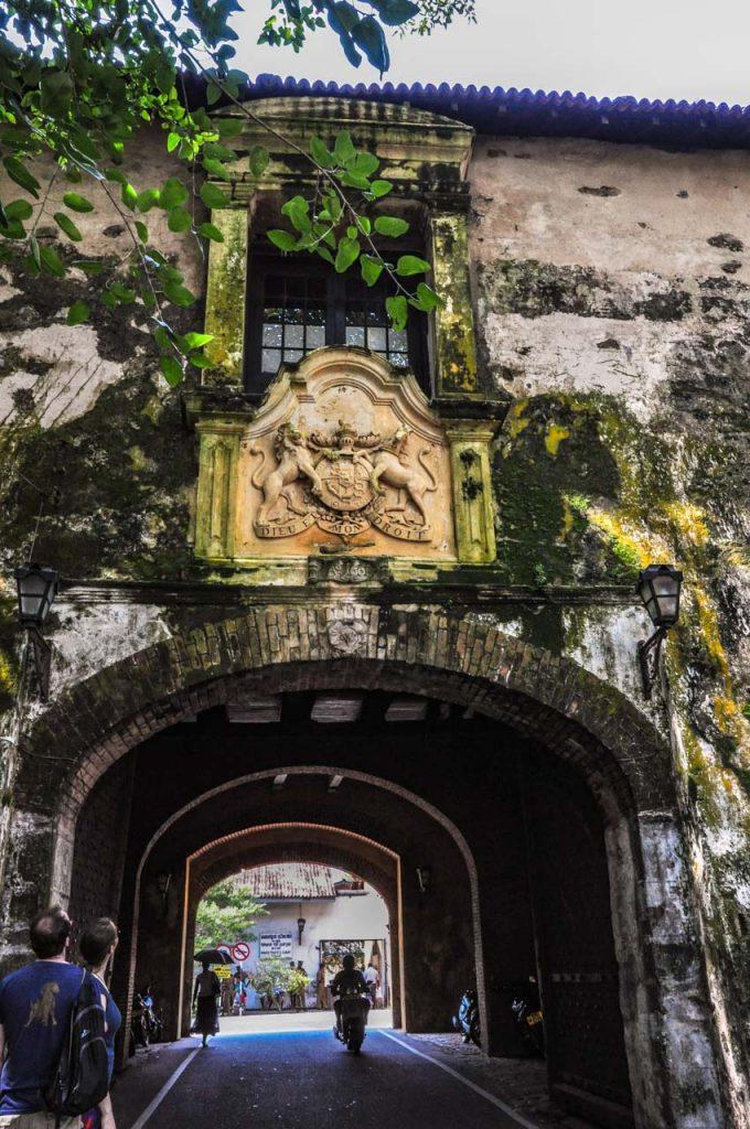 Galle Fort ramparts old gate British crest