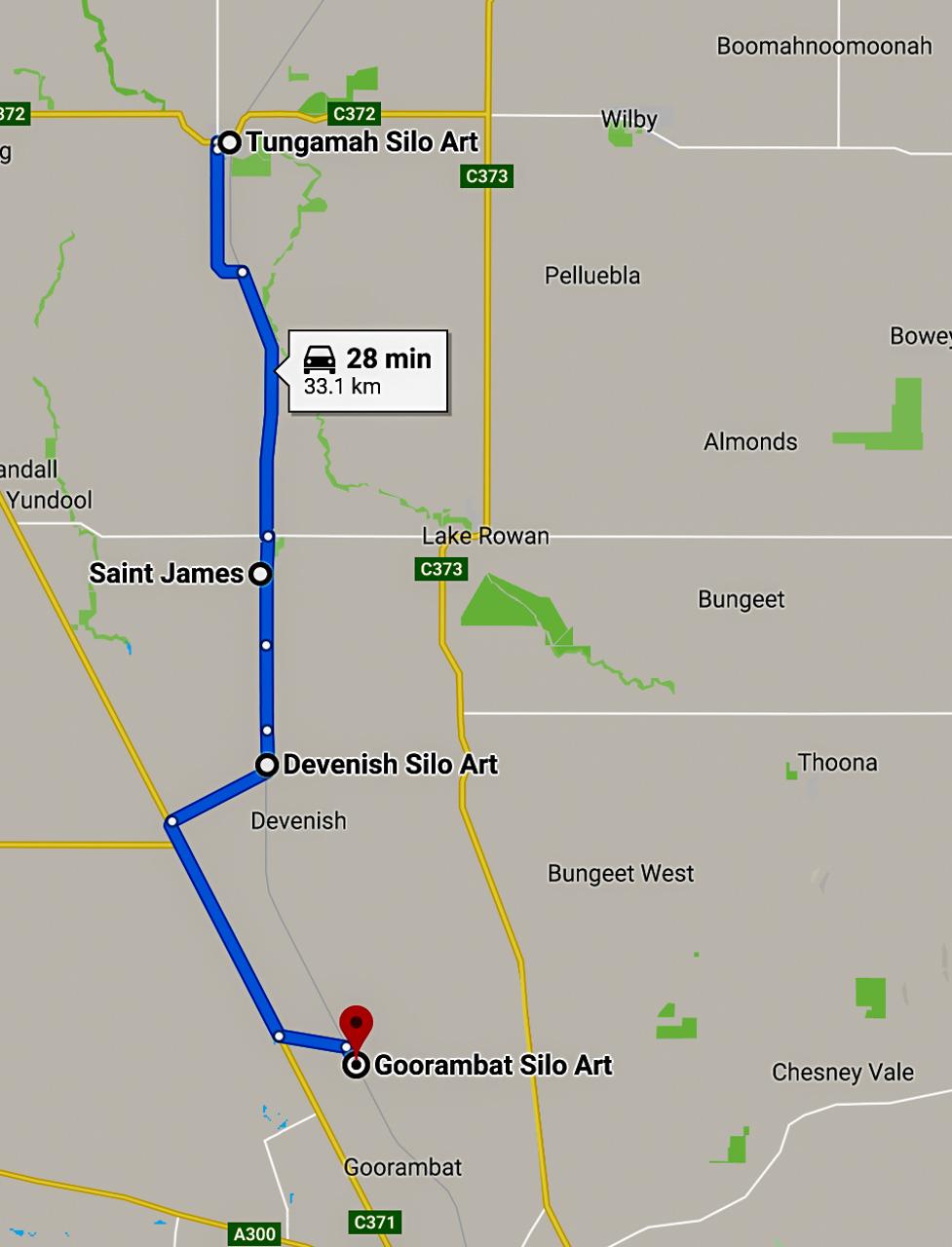 Silo art North East Victoria map