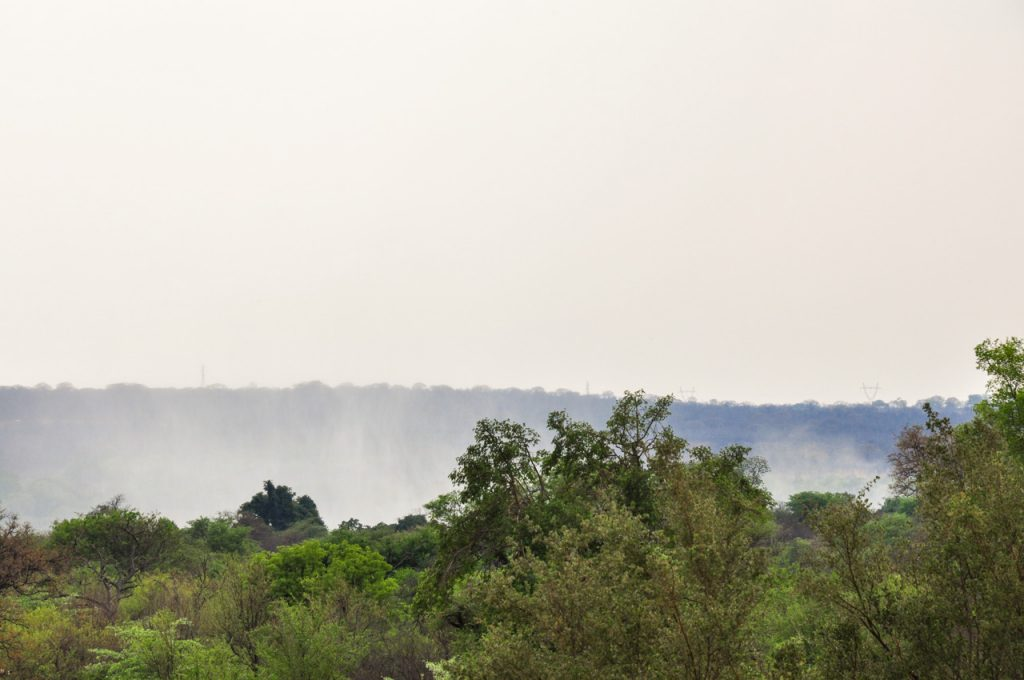 Mist rising from Victoria Falls, the smoke that thunders