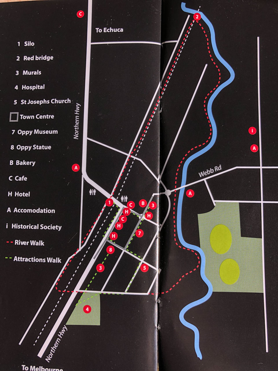 The river walk route shown on the map of Rochester, Victoria