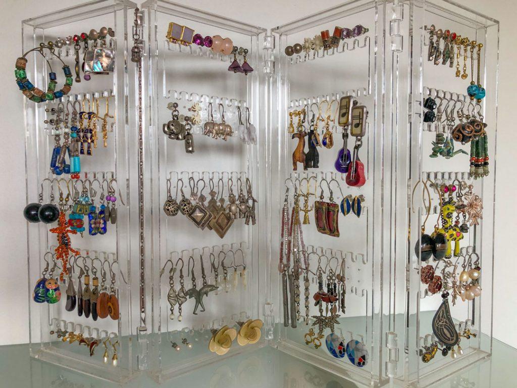 Many earrings on display