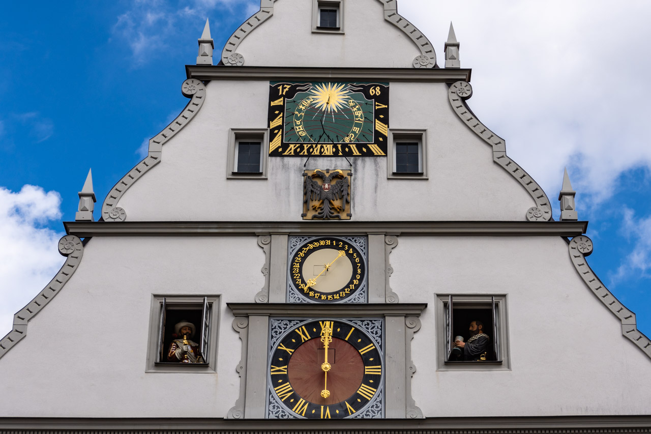 Rothenburg's Councillor's Tavern with mechanical clock in main Square