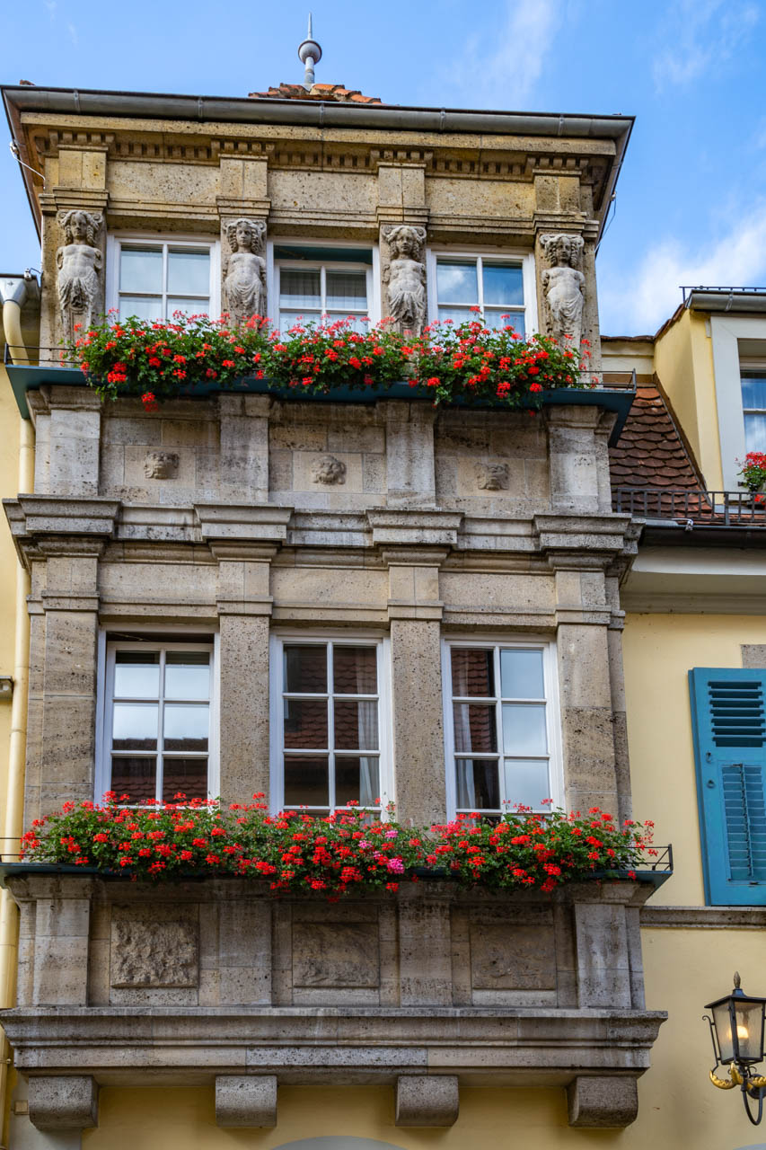 Rothenburg's Master Builder's House with statues