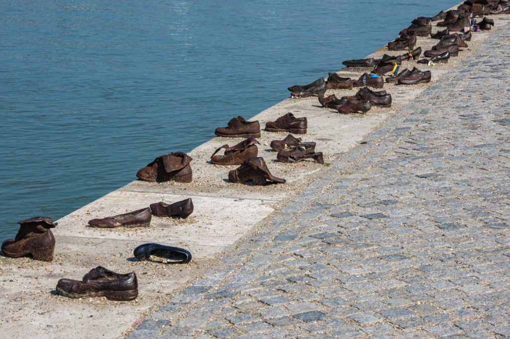Line of caste iron shoes on the Danube riverbank