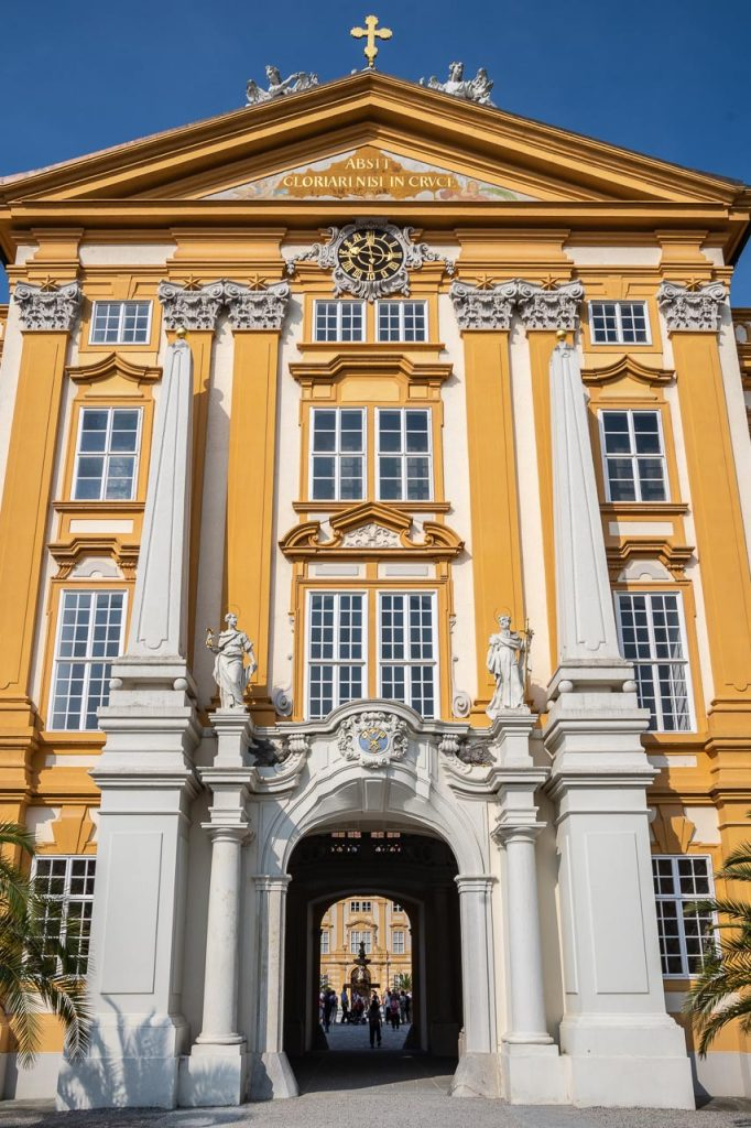 Arch in Melk Abbey building from one courtyard to another as seen through the arch