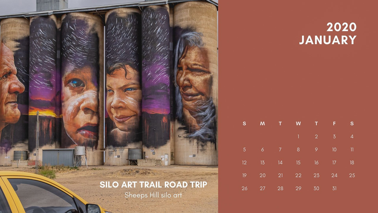 One month of a calendar with a single photo of Aboriginal people painted on silos