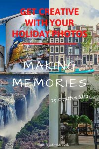 A collage of 4 different photos - a waterfall, a dinning room, silo art and houses on a canal