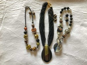 Coloured glass necklaces and earrings