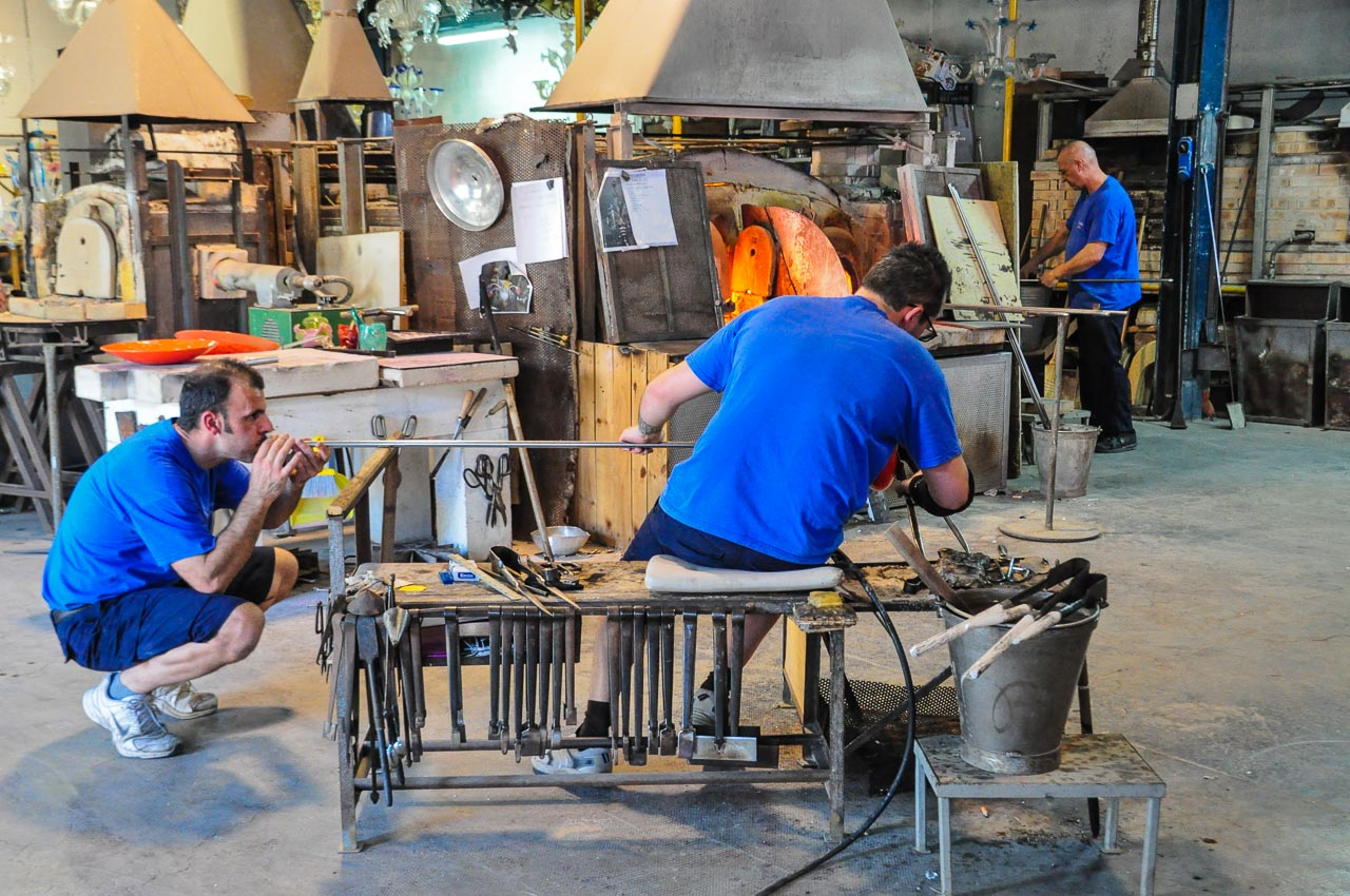 Glassblowers in their workshop