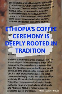 A poster with writing on it telling the story of Ethiopia's coffee ceremony