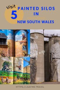 Three silo artworks: one of sheep and cattle in a paddock, another of tow men, and a third of a farmer in a paddock looking at his wheat