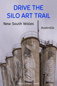 Paintings on five concrete silos of five elderly men