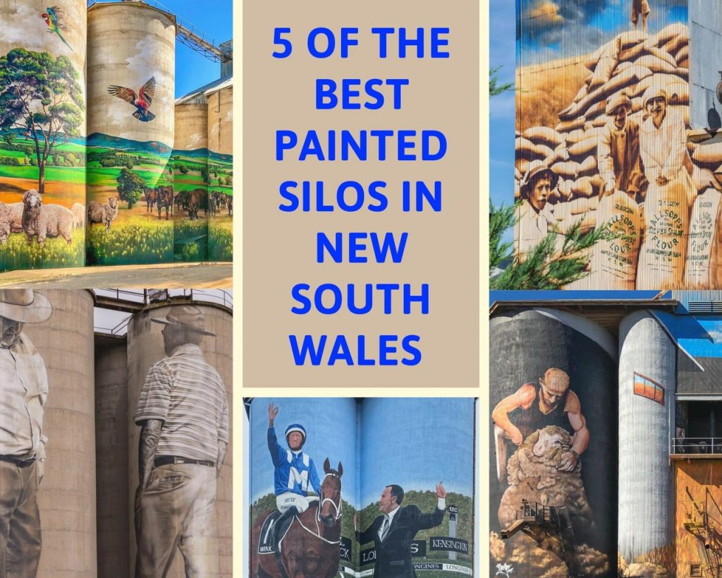A collage of photos of murals on grain silos - a rural landscape with sheep and cattle; a jockey and race horse; a shearer shearing a sheep; two men; and 2 ladies and a boy standing over bags of wheat