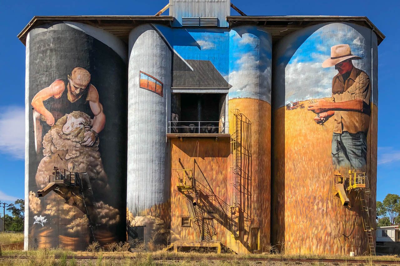 Paintings on grain silos of a shearer shearing a sheep and of a farmer looking at his wheat