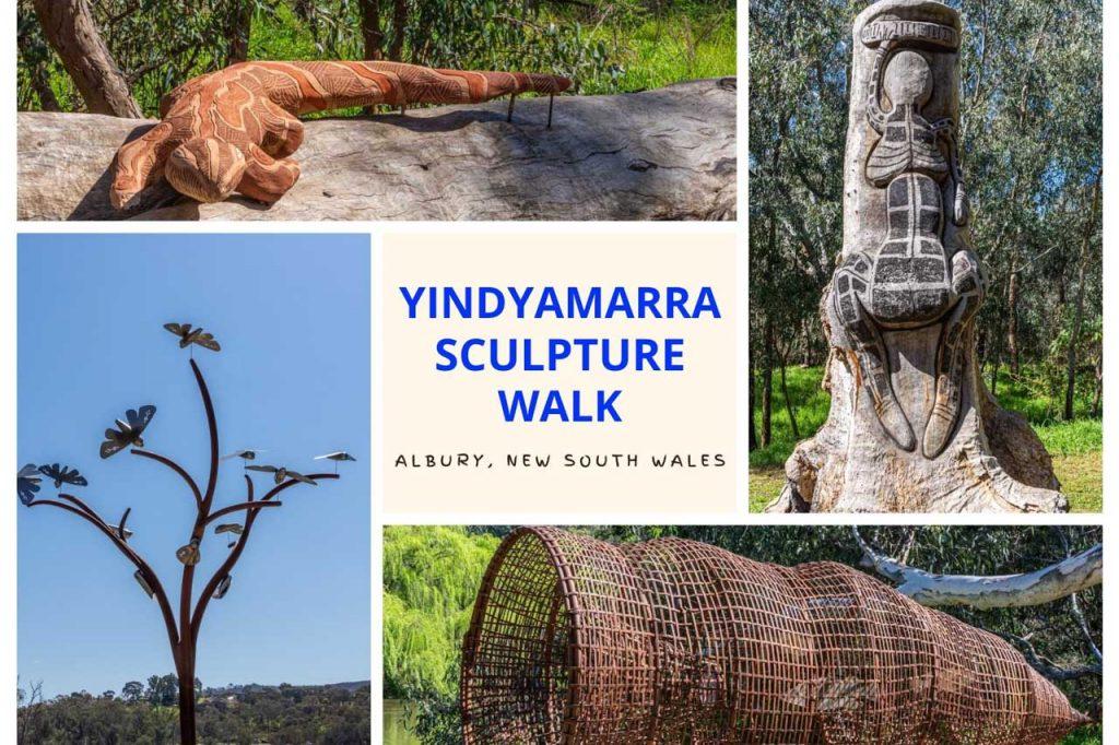 A collage of photos of Aboriginal sculptures