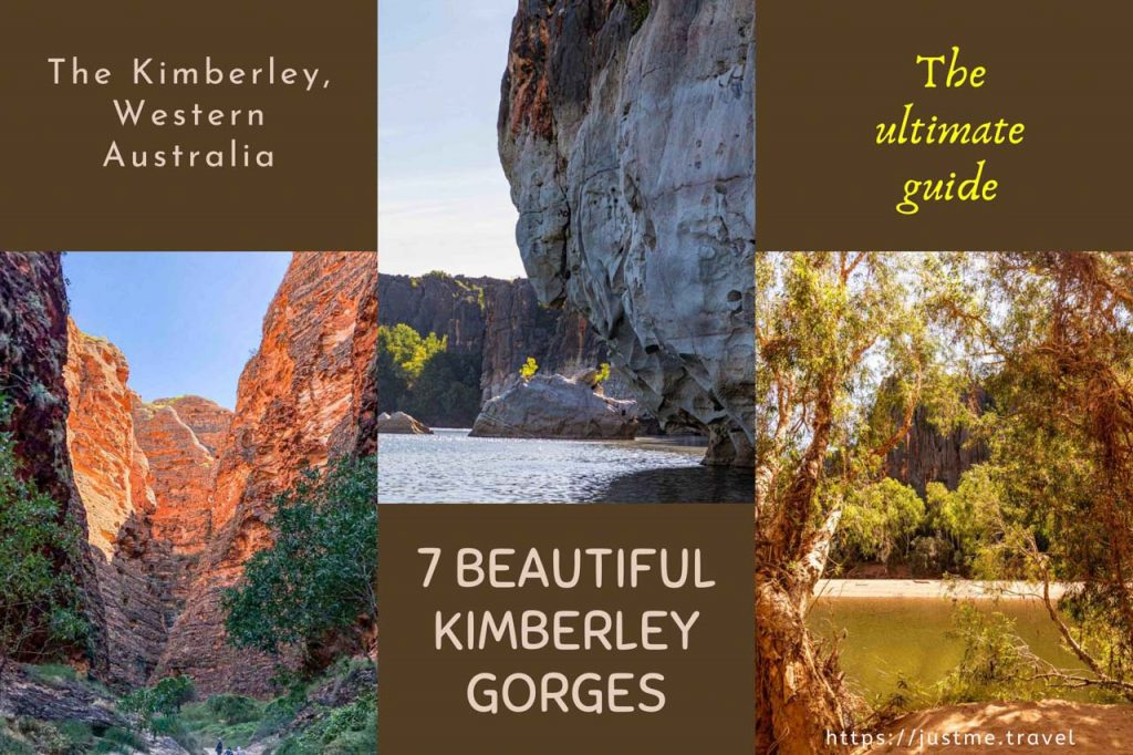 a composite of three photo of rock formations and rivers