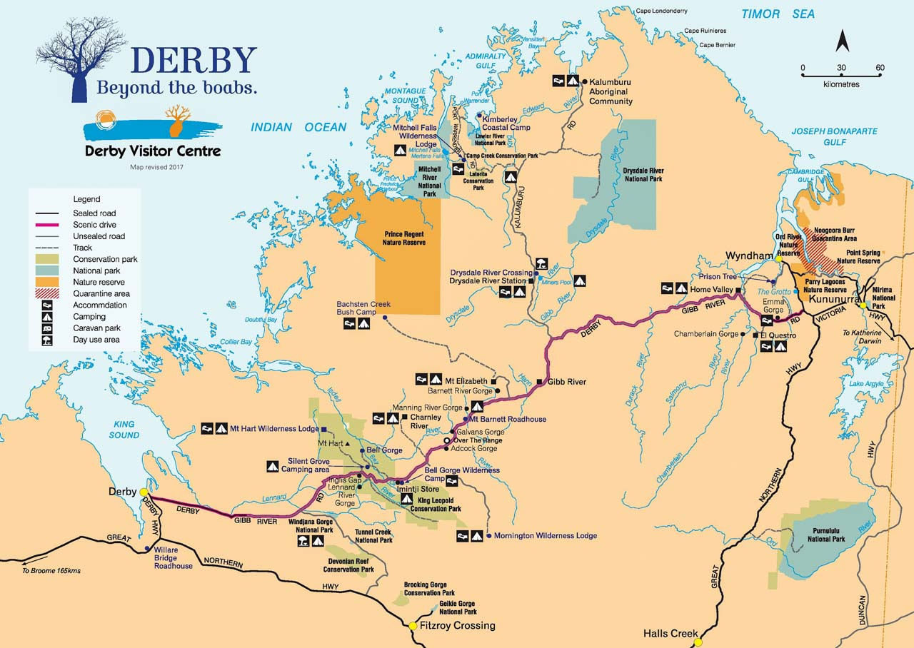 A map of The Kimberley region, showing mountains, gorges, roads and towns
